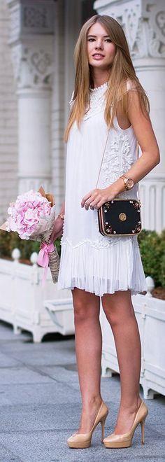 Tatti Style Blog White Embroidered Little Bridal Dress