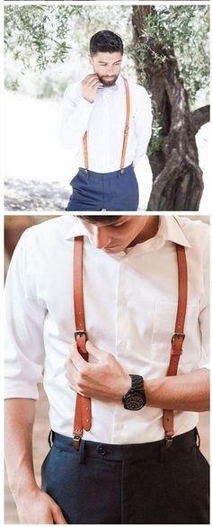 Leather Suspenders / Groomsman Wedding Suspenders