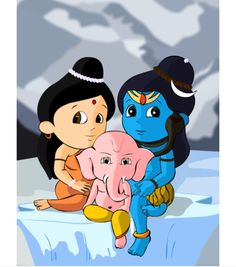 Sooooo cute 😍😇 Lord Shiva with Shree Ganesh and Mata Parvati ! Ganesha Drawing, Lord Ganesha Paintings, Lord Shiva Painting, Ganesha Art, Krishna Painting, Lord Shiva Hd Images, Ganesh Images, Ganesha Pictures, Krishna Images