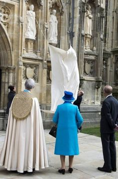 Queen Elizabeth II and Prince Philip, Duke of Edinburgh visited Canterbury Cathedral on March 26, 2015 in Kent, United Kingdom. Here they view two new statues of their likeness.