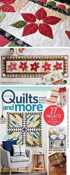 Christmas Poinsettia Table Runner Pattern | Jacquelynne Steves #quilt