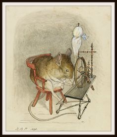 """Beatrix Potter, """"Mouse with a Spinning Wheel"""". I do love a good Beatrix Potter mouse. Old Illustrations, Beatrix Potter Illustrations, Children's Book Illustration, Woodland Illustration, Beatrice Potter, Peter Rabbit And Friends, Illustrator, Motifs Animal, Tier Fotos"""