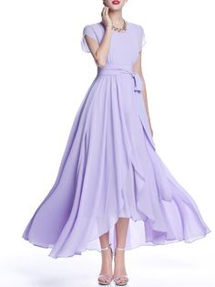 Crew Neck Chiffon Boho A-line Short Sleeve Maxi Dress