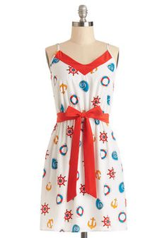 Seashore Celebration Dress. Your friends are flaunting bikinis to tonights beach bonfire, but youre more than willing to sacrifice a dip in the ocean so you can wear this nautical dress!  #modcloth