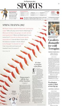"""SND Best of Sports Design Enterprise/Feature Centerpiece -- """"Spring Training"""" by the Washington Post's Chris Rukan. Love the zoomed in shot of the baseball seam as the main image; smoothly directs the eye/ the reader's attention to the main text. Newspaper Design Layout, Page Layout Design, Book Design, Design Editorial, Editorial Layout, Magazine Design, Magazine Layouts, Yearbook Layouts, Yearbook Staff"""