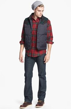 Pendleton Down Vest, Fitted Flannel Shirt & Levi's® Red Tab™ Straight Leg Jeans Flannel Outfits, Vest Outfits, Flannel Shirt, Flannel Clothing, Fashion Poses, Boy Fashion, Winter Fashion, Mens Fashion, Fashion Ideas