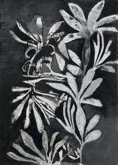 Massimiliano Fabbri / Memoria vegetale (innesti) / 2015, grafite, carboncino, penna biro, china, matita bianca, olio e collage su carta, cm 70x50