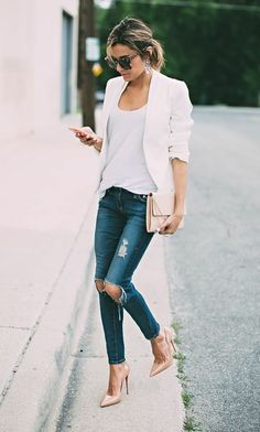 ef62ffdf7b torn and distressed business casual jeans, combined with white top, and  white blazer,