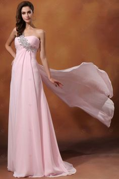 Evening dress A-line Sweetheart Beadings With Trailing Chiffon Crystal Evening Dresses