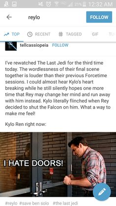 Whyyyyy just join him Rey! Or! Kylo needs to turn. Ya. I like that better  Plzzzz #reylo
