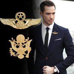 Brooches European And American Fashion Pin Buckle Personalized Retro Vest Double – Headed Eagle Badge Men 's Suit Brooch Suit Accessories, Silver Accessories, Coat Pin, Double Headed Eagle, Swarovski, Cheap Online Shopping, Shape Patterns, Vintage Men, Wedding Styles