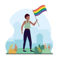 Women with rainbow flag to lgbt celebration vector Rainbow Flag, Lgbt, Vector Free, Celebration, Women, Decor, Decoration, Decorating, Deco