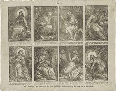 Christoffel van Sichem (IV) | Taferelen uit het Oude Testament, Christoffel van Sichem (IV), Johannes Seydel, 1776 - 1813 | Blad met 8 voorstellingen knielende en biddende heiligen en figuren uit de Bijbel. Onder elke afbeelding een onderschrift. Genummerd midden boven: No. 6.
