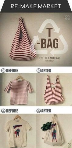 Diy Sewing Projects How To Make a No Sew T-Shirt Tote Bag in 10 Minutes - This no sew t-shirt tote bag made from old t-shirts can be whipped up in just ten minutes! It's perfect as a DIY tote or farmer's market bag. Sewing Hacks, Sewing Crafts, Sewing Projects, Sewing Tips, Sewing Tutorials, Teen Crafts, Recycling Projects, Bags Sewing, Bag Tutorials