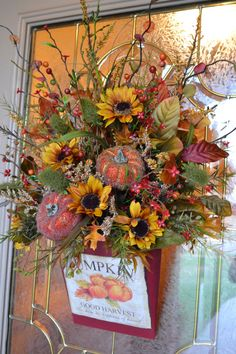 Fall Pumpkin Door Arrangment by kristenscreations on Etsy, $62.00