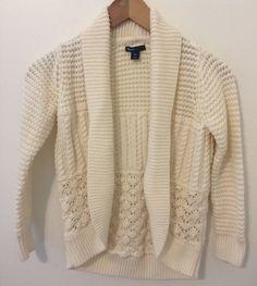 Gap Kids Girls Size Large (10) Ivory Cream Knit Shawl Open Cardigan Sweater #GapKids #Cardigan #HolidayEverydayDressy