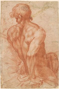 Italian School | Half-Figure of a Seated Male Nude, and a Second Figure at His Side | Drawings Online | The Morgan Library & Museum