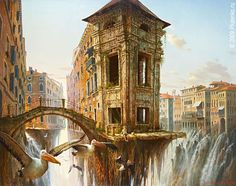 I didn't learn how to fly, The city of Birds. Surrealism and Futurism in Oil Paintings. By Stanislav Plutenko.