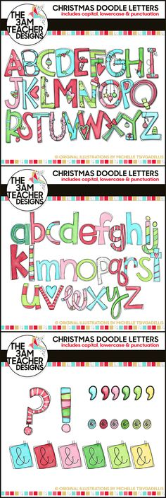 NEW Hand-drawn Christmas Doodle Letters by The 3AM Teacher. Over 100 graphics in full color and black & white. $