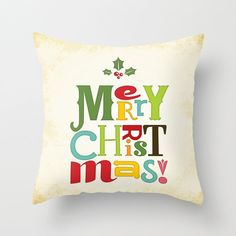 Merry Christmas Throw PILLOW  christmas by NoondaybyTracey on Etsy