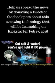 Please help us spread the news about this amazing saltwater cell phone charger & lantern that will launch on Kickstarter Feb 2016 Phone Charger, Lanterns, Product Launch, The Incredibles, Facebook, News, Amazing, Check, Projects