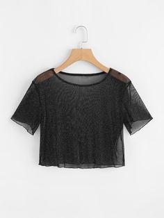 Camiseta corta de malla fina -Spanish Romwe