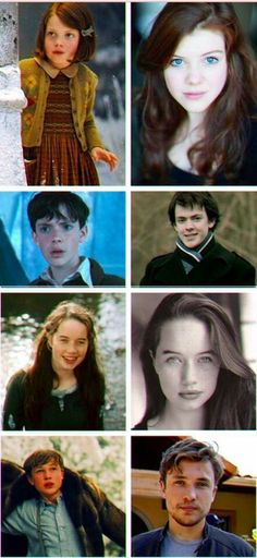 Chronicles of Narnia, Pevensies then and now! Georgie, Skandar, Anna, William