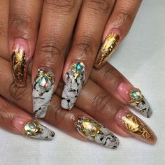 Marble x Gold foil.. To book an appointment, please visit styleseat.com/nailsbyregina