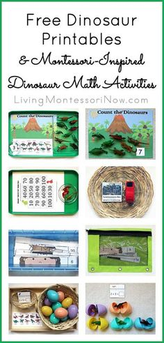 Montessori-Inspired Dinosaur Math Activities Using Free Printables (includes link to Living Montessori Now post with long list of free dinosaur printables)