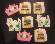 Princess and the Pea decorated sugar cookies