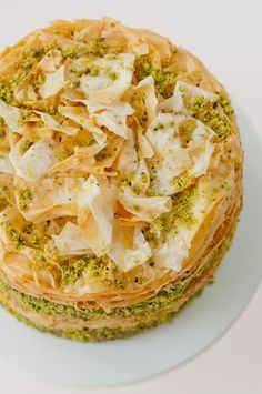 Pistachio Baklava Cake ~ Baklava, the Greek, Turkish, Lebanese rich, sweet pastry made of layers of phyllo dough filled with nuts and sweetened with syrup.