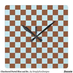 Checkered Pastel Blue and Brown Square Wall Clock