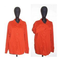 St Jonn's Bay Orange Shirt Women's Corduroy Cotton Long Sleeve Shirt Button Front Winter Top Blouse Women's Misses Casual Dress Top Size XL by ICreateAndCollect on Etsy