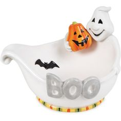 Fitz and Floyd Boo Ghost Bowl ($20) ❤ liked on Polyvore featuring home, kitchen & dining, serveware, halloween bowl, earthenware bowl, halloween serveware, pumpkin serving bowl and serving bowl