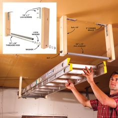 Hang ladders from the ceiling so they don't hog prime storage space. The rollers on this simple carriage let you easily slide in one end of the ladder, then the other. The materials you'll need are all inexpensive. Fasten the corner braces to ceiling joists with 2-in. lag screws. Secure the ladder with an elastic cord so it can't roll out and fall.