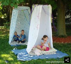 Teepee from hula hoop and bedsheet/shower curtain