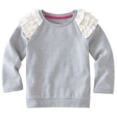 ruffle shoulders on a plain sweatshirt - oh so cute!