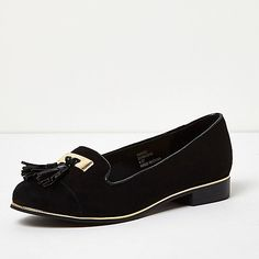 Black wide fit tassel loafers - flat shoes - shoes / boots - women