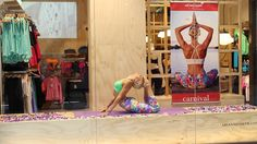 The talented Danique performs in our window as a Live Mannequin, demonstrating Yoga in our Garden City Store, Westfield Mt Gravatt, Brisbane, Queensland