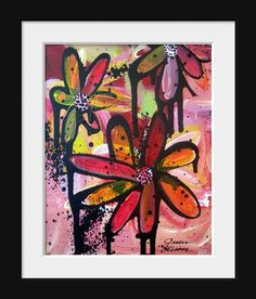 Graffiti Flowers  Pink Flowers with an by OutsideTheBoxArt on Etsy, $34.00