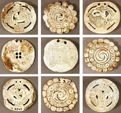 Typology of shell gorgets. North American. 1000-1600A.D. Harvard Peabody Museum collection.
