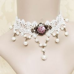 Handmade White Lace Fuchsia Rose Princess Lolita Necklace with Pearls 718183 2016 – $12.99