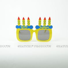"""Novelty """"Happy Birthday"""" glasses with added candles. Novelty Sunglasses, Round Sunglasses, Yellow Birthday, Happy Birthday, Yellow Candles, Cool Glasses, Party Accessories, Some Fun, Fancy Dress"""
