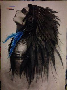 Indian Horse Tattoo, Indian Women Tattoo, Back Tattoo Women, Tattoos For Women, American Indian Art, Native American Art, Leg Tattoos, Body Art Tattoos, Tatoos