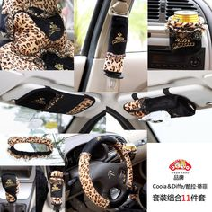 Leopard print Steering wheel cover Seat belts the rearview mirror set hand brake set etc 11PCS car  AUTO parts accessories $88.33