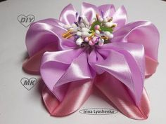 Бант из атласных лент 3D МК. DIY Beautiful bow of satin ribbons - YouTube