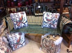 Bench just sold; we will get more in! The pillows are back in stock!