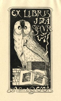 Ex libris by Willy Baedecker (Ger)(1870-1910) for Ida Schur, 1900