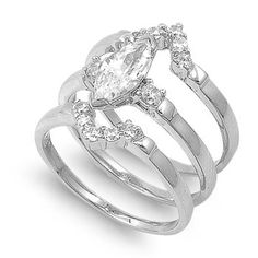 Alaine's 1.25CT Marquise Three Piece CZ Wedding Ring Set  #CZWeddingSet