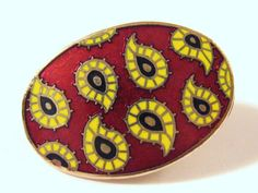Mod Vintage 1970s Gold Yellow Black & Red Paisley GUILLOCHE ENAMEL Men's Tie Clip..Signed by SHIELDS